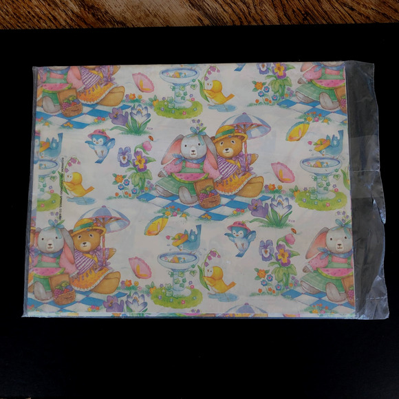 Vintage 92 Easter Bunny Bear Wrapping Craft Paper